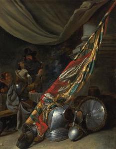 Wachtlokaal met stilleven van een harnas en een vlag