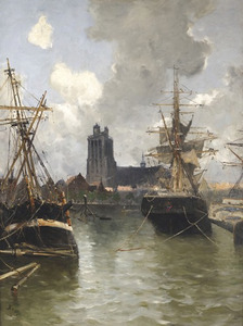 Gezicht op de haven van Dordrecht
