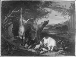 Honden bij jachtbuit en jachtgereedschap