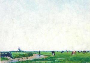 Weids polderlandschap met vee