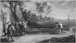 Landschap met kegelende mannen voor een huis