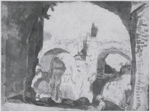 Gezicht op de ruïnes van de Thermen van Caracalla