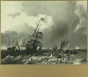 De terugkomst van de 'Hollandia', het vlaggeschip van Michiel Adriaensz. de Ruyter, en andere vaartuigen bij Texel ( 3 november 1665)