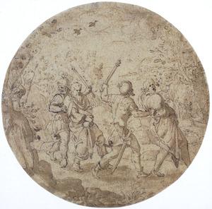 De twee ouderlingen die Suzanna ten onrechte beschuldigden, worden door soldaten naar hun terechtstelling gevoerd; rechts de steniging (Daniël 13:1-63)