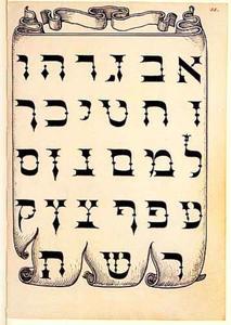 Banderol met Hebreeuws alfabet