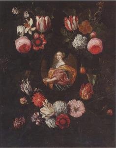 Portret van een vrouw omringd door een bloemenkrans