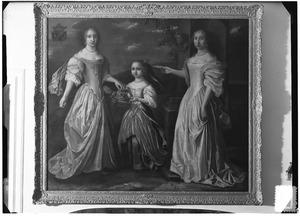 Familieportret van Bouwina Tjarda van Starkenborgh (..-1709), Hiddina Anna Tjarda van Starkenborgh en Frederica Tjarda van Starkenborgh (1649-1687)