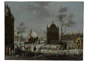 Winterlandschap met carnavalvierders en veehoeders