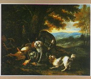 Honden bewaken jachtbuit onder een boom; rechts in de achtergrond een jager