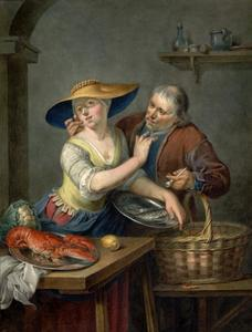 Jonge vrouw met schotel vissen weert een oude man af