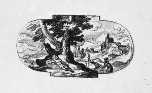 Landschap met degelijkenis van de barmhartige Samaritaan (Lucas 10:30-37)