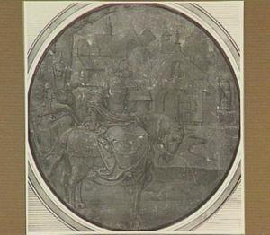 Vorstin te paard met gevolg, bij de ingang van een klooster