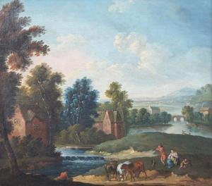 Rivierlandschap met herders