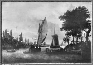 Schepen op de Rijn bij de stad Spiers