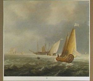 Zeilschepen op een beweglijke zee