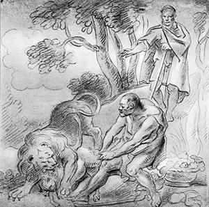 De vergelijking van de profeet Amos van Israel met de resten van een lam die uit de muil van een leeuw gered worden (Amos 3:12)