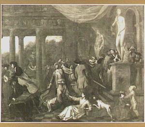 Vechtpartij in een paleis (allegorische voorstelling?)