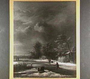 Winterlandschap met schaatsenrijders onder een bewolkte lucht