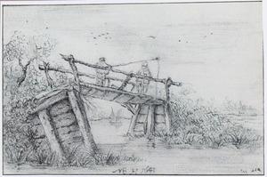 Twee vissers op een burg in een rivierlandschap
