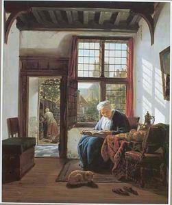 Lezende vrouw aan een venster