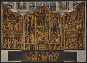 De geboorte van Maria, de presentatie van Christus (binnenzijde linkerluik); De dood van Maria (middendeel); De Boom van Jesse, Christus' dispuut met de geleerden (binnenzijde rechterluik); De presenatatie van Maria, de visitatie (predella)