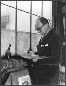 Conrad Kickert in zijn atelier, 33 rue Boissonnade, Parijs