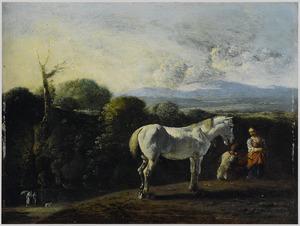 Zuidelijk landschap met schimmel en rustend herderspaar; op de achtergrond Tobias en de engel
