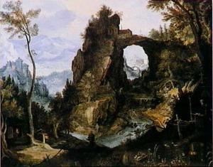 Rotsachtig berglandschap met heremieten
