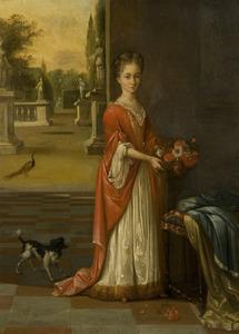 Jonge vrouw in een interieur met openslaande deuren en zicht naar buiten