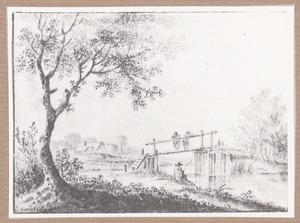 Landschap met figuren op een brug en een visser