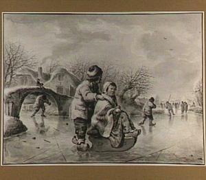 Winterlandschap met kinderen op duwslee op het ijs