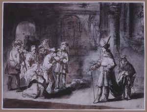 Jozef ontvangt zijn broeders, die voor hem buigen (Genesis 42:6)