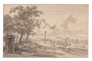 Glooiend landschap met schaapherder en kudde bij Hilversum