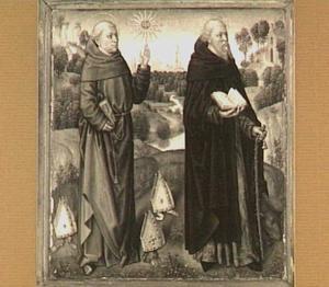 H. Bernardinus van Siëna (rechts) en H. Antonius de Eremiet (links) in een landschap