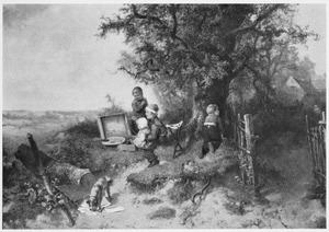 Jongen aan het schilderen met het schildergerei van de schilder die wegloopt