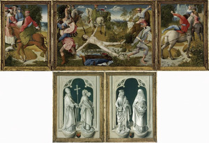 De vierendeling van de H. Hippolytus (binnenzijde); Een heilige bisschop en de H. Catharina (buitenzijde links; in grisaille), de HH. Hippolytus en Elisabeth van Thüringen (buitenzijde rechts; in grisaille)