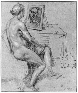 Zittende naakte vrouw kijkend in een spiegel