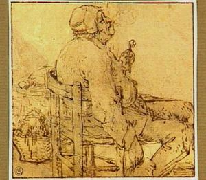 Zittende boer met pijp en drinkkan