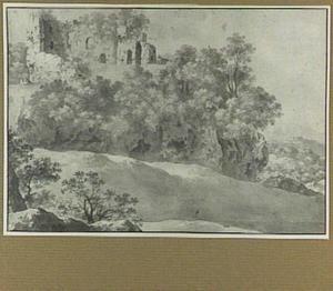 Landschap met ruïnes op een heuvel