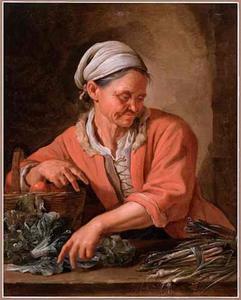 Een oude vrouw met groente
