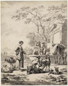 Herderinnen met vee bij een bron