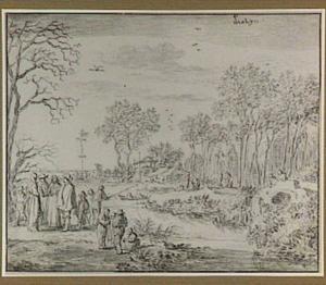 Boomrijk landschap met figuren en een meiboom