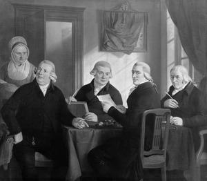 Portret van vier regenten en de binnenmoeder van het Oudezijdshuiszitten- aalmoezeniersarmenhuis te Amsterdam