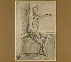 Jonge man, in een vensterbank zittend