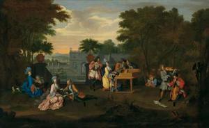 Elegant musicerend gezelschap in een parklandschap