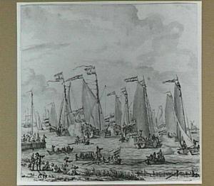 Amsterdam, spiegelgevecht ter ere van Tsaar Peter de Grote in 1697