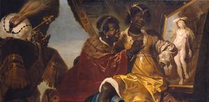 Persina zittend op Hydaspes schoot kijkend naar een schilderij van Andromeda geketend aan een rots (Heliodorus: Aethiopica IV)