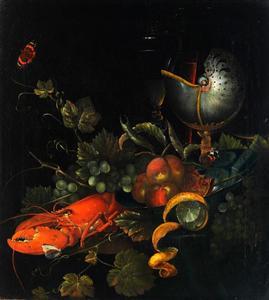 Stilleven met kreeft en nautilusbeker
