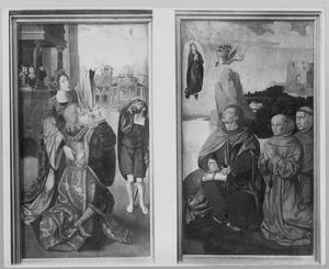 De Tiburtijnse Sibille voorspelt de komst van Christus aan Keizer Augustus (binnenzijde links); Het visioen van de H. Johannes de Evangelist op het eiland Patmos en twee stichters (binnenzijde rechts)