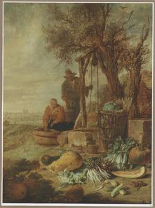 Boer en boerin bij een put met gezicht op Parijs